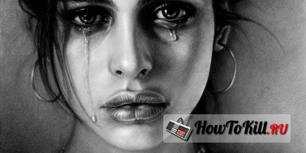 девушка плачет фото черно белая